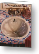 Sink Greeting Cards - BATHROOM SINK 1991  Skewed perspective series 1991 - 2000 Greeting Card by Larry Preston