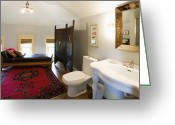 Wood Floors Greeting Cards - Bathroom with Sitting Area Greeting Card by Andersen Ross