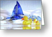 Toy Greeting Cards - Bathtime fun  Greeting Card by Sandra Cunningham
