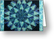 Textile Art Tapestries - Textiles Greeting Cards - Batik Star Greeting Card by Patty Caldwell