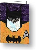 Funny Pop Culture Greeting Cards - Batman as Geordi La Forge Greeting Card by Jera Sky