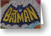 Bat Mixed Media Greeting Cards - Batman Bottle Cap Mosaic Greeting Card by Paul Van Scott