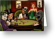 Two Face Greeting Cards - Batman Villains Playing Poker Greeting Card by Emily Jones