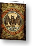 Blue Blood Greeting Cards - Bats Blood Greeting Card by Nada Meeks