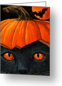 Black Cat Greeting Cards - Bats in the Belfry  Greeting Card by Linda Apple