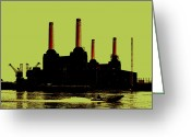 Contemporary Digital Art Greeting Cards - Battersea Power Station London Greeting Card by Jasna Buncic