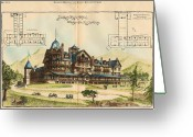 Battery Park Greeting Cards - Battery Park Hotel. Asheville NC. 1886 Greeting Card by Hazlehurst and Huckel
