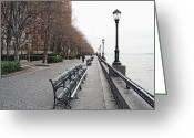 Tree-lined Greeting Cards - Battery Park Greeting Card by Michael Peychich
