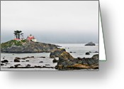 Moody Greeting Cards - Battery Point Lighthouse California Greeting Card by Christine Till