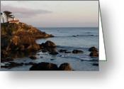 Gloaming Greeting Cards - Battery Point Lighthouse Greeting Card by Jan Cipolla
