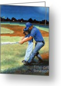 Coaching Greeting Cards - Batting Coach Greeting Card by Pat Burns