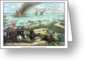 American History Painting Greeting Cards - Battle Between The Monitor And Merrimac Greeting Card by War Is Hell Store