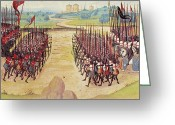 Archer Greeting Cards - Battle Of Agincourt, 1415 Greeting Card by Granger