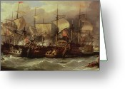 Fighting Painting Greeting Cards - Battle of Cape St Vincent Greeting Card by Sir William Allan