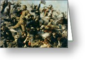 25th Greeting Cards - Battle of Little Bighorn Greeting Card by Edgar Samuel Paxson