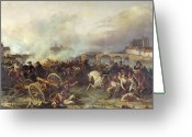 Bataille Greeting Cards - Battle of Montereau Greeting Card by Jean Charles Langlois