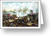 United States Flag Greeting Cards - Battle of New Orleans Greeting Card by War Is Hell Store