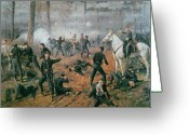 The Nest Painting Greeting Cards - Battle of Shiloh Greeting Card by T C Lindsay