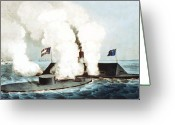 Merrimac Greeting Cards - Battle of the Monitor and Merrimack Greeting Card by War Is Hell Store