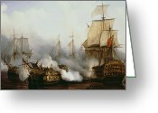 Fighting Painting Greeting Cards - Battle of Trafalgar Greeting Card by Louis Philippe Crepin