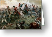 Fighting Painting Greeting Cards - Battle of Waterloo Greeting Card by William Holmes Sullivan