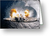 Birds Eye View Greeting Cards - Battleship Iowa Firing All Guns Greeting Card by Stocktrek Images