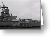 Retired Battleship Greeting Cards - Battleship NJ Panoramic Greeting Card by Sven Migot