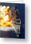 Warship Greeting Cards - Battleship Uss Iowa Firing Its Mark 7 Greeting Card by Stocktrek Images