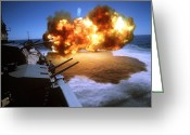 Firearms Photo Greeting Cards - Battleship Uss Missouri Fires One Greeting Card by Stocktrek Images