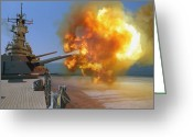 Operation Desert Storm Greeting Cards - Battleship Uss Wisconsin Fires A Round Greeting Card by Stocktrek Images