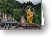 Temple Digital Art Greeting Cards - Batu Caves Greeting Card by Adrian Evans