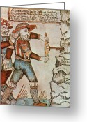 Norse Greeting Cards - Baugi Drills A Hole In The Mountain Greeting Card by Photo Researchers