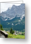Mountain Peaks Greeting Cards - Bavarian Alps with Shed Greeting Card by Carol Groenen
