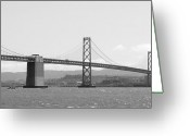 Bay Area Greeting Cards - Bay Bridge in Black and White Greeting Card by Carol Groenen