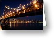 Street Light Greeting Cards - Bay Bridge In Front Of San Francisco Skyline Greeting Card by Blue Hour Photography