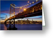 Treasure Island Greeting Cards - Bay Bridge Greeting Card by Inge Johnsson