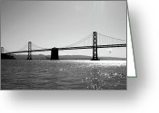 Oakland Bay Bridge Greeting Cards - Bay Bridge Greeting Card by Rona Black