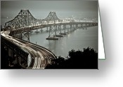 Suspension Greeting Cards - Bay Bridge Greeting Card by Stefan Baeurle