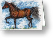 Equine Watercolor Portrait Greeting Cards - Bay horse running Greeting Card by Angel  Tarantella