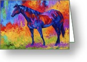 Western Painting Greeting Cards - Bay Mare II Greeting Card by Marion Rose