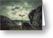 Romanticist Greeting Cards - Bay Scene in Moonlight Greeting Card by John Warwick Smith