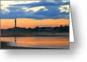 Cape Cod Greeting Cards - Bay Sunset Greeting Card by Sue  Brehant