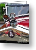 Collectors Car Greeting Cards - Bayliss Thomas Badge and Hood Ornament Greeting Card by Kaye Menner