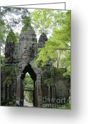 Archeology Greeting Cards - Bayon Gate Greeting Card by Marion Galt