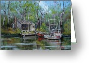 Woods Painting Greeting Cards - Bayou Shrimper Greeting Card by Dianne Parks