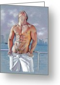 Muscular Drawings Greeting Cards - Bayside Greeting Card by Chance Manart