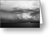 Bayview Greeting Cards - Bayview Storm with Lightning Greeting Card by Jennifer Brindley