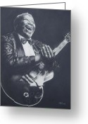 Angel Blues  Drawings Greeting Cards - BB King Greeting Card by Cynthia Campbell