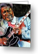 Blues Greeting Cards - BBKing Greeting Card by Frances Marino