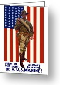 Vintage Mixed Media Greeting Cards - Be A US Marine Greeting Card by War Is Hell Store